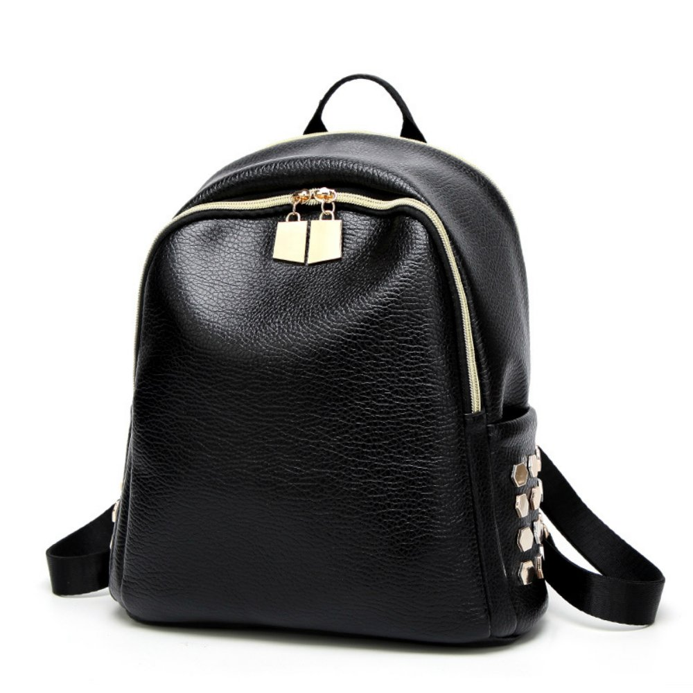 None Leather Backpack,Latest Fashion Cool Rivet soft PU Leather Lady's Backpack Women Travel Double Shoulder Bag for Girl Bagpacks