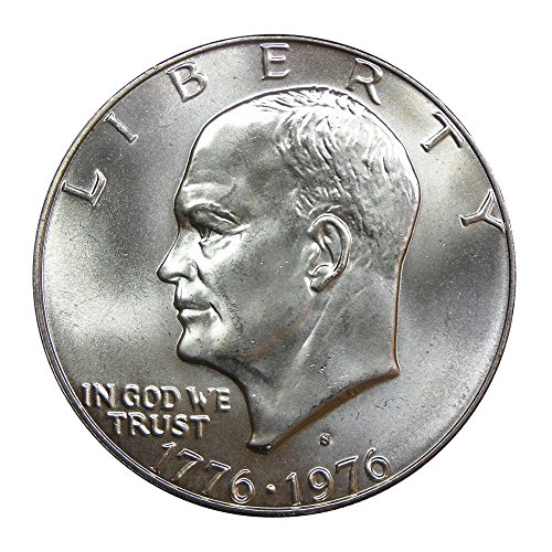(1976-S U.S. Eisenhower Silver Dollar Coin, 40% Pure Silver, Mint State Condition, Bicentennial Design)