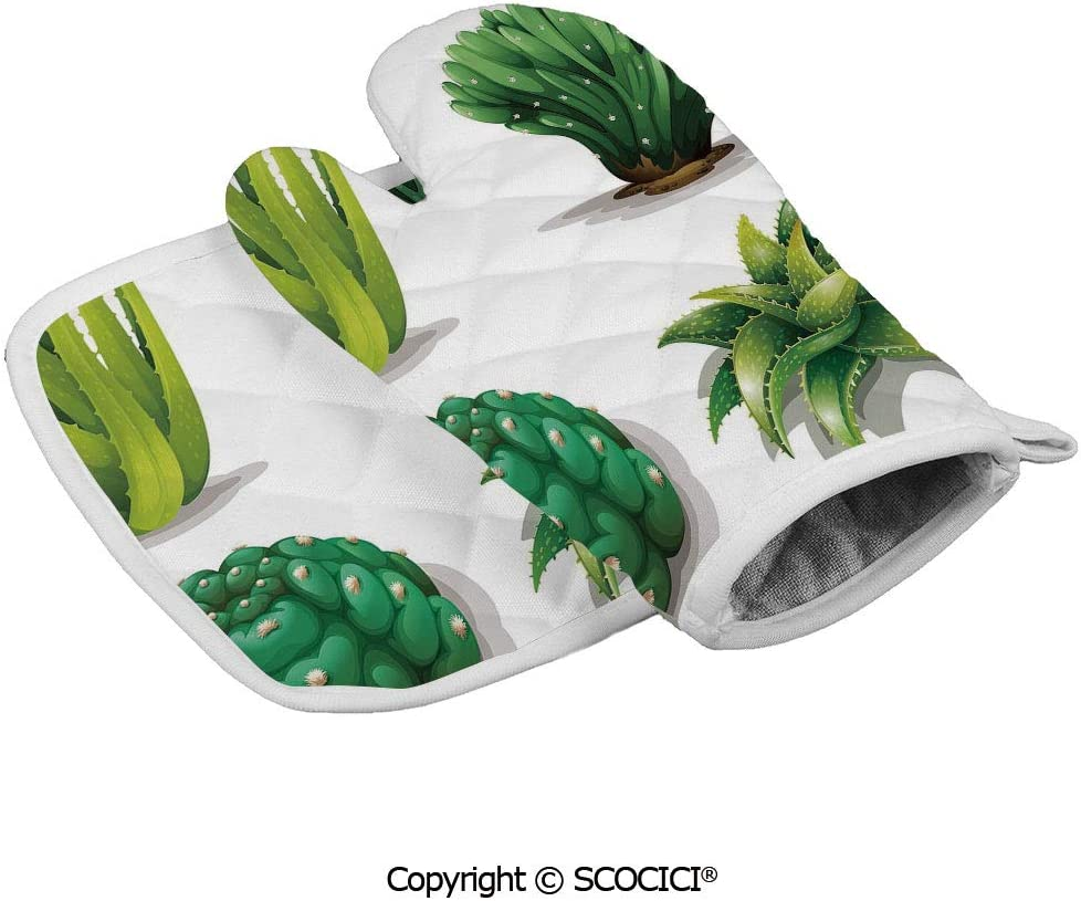 SCOCICI Oven Mitts Glove - Aloe Vera Plants Cacti Rejuvenating Healing Herbal Spiny Heat Resistant, Handle Hot Oven Cooking Items Safely
