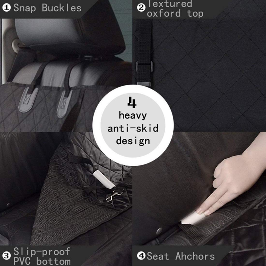 Dog Car Seat Cover 2 in 1 Nonslip Scratch-proof Pets Seat Car Cover Non-Slip Waterproof Pets Travel Hammock Rear Seat Protector single front pet seat cover 105*50cm/41.33*19.68in for cars-Black