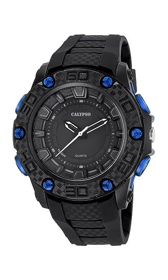 Calypso - Reloj de Hombre de Cuarzo con Negro Esfera analógica Pantalla y Correa de plástico en Color Negro k5699/7: Amazon.es: Relojes