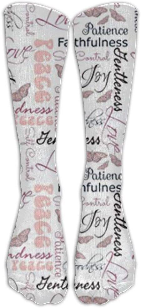 YuanHu Christian Fruit of The Spirit Butterflies Crew Calcetines Calcetines de compresión graduada para Mujeres y Hombres: los Mejores Calcetines médicos, de enfermería, de Viaje y de Vuelo