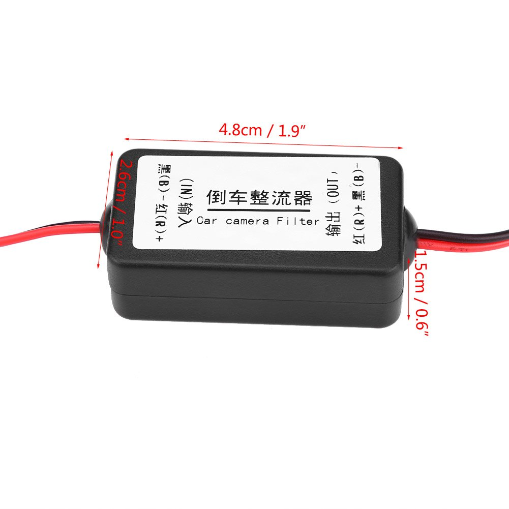 12v Car Power Filter Reverse Camera Power Rectifier Power Relay Capacitor Filter Suppressor for Car Backup Camera