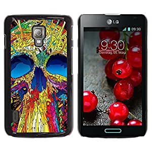 Qstar Arte & diseño plástico duro Fundas Cover Cubre Hard Case Cover para LG Optimus L7 II P710 / L7X P714 ( Skull Neon Monster Positive Art Skeleton)
