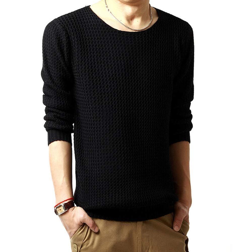 XFentech Mens Round Neck Pullover Sweater Top Knitwear