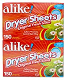 alike Fresh Scent Fabric Softener and Dryer Sheets, 150 Count (Pack of 4)