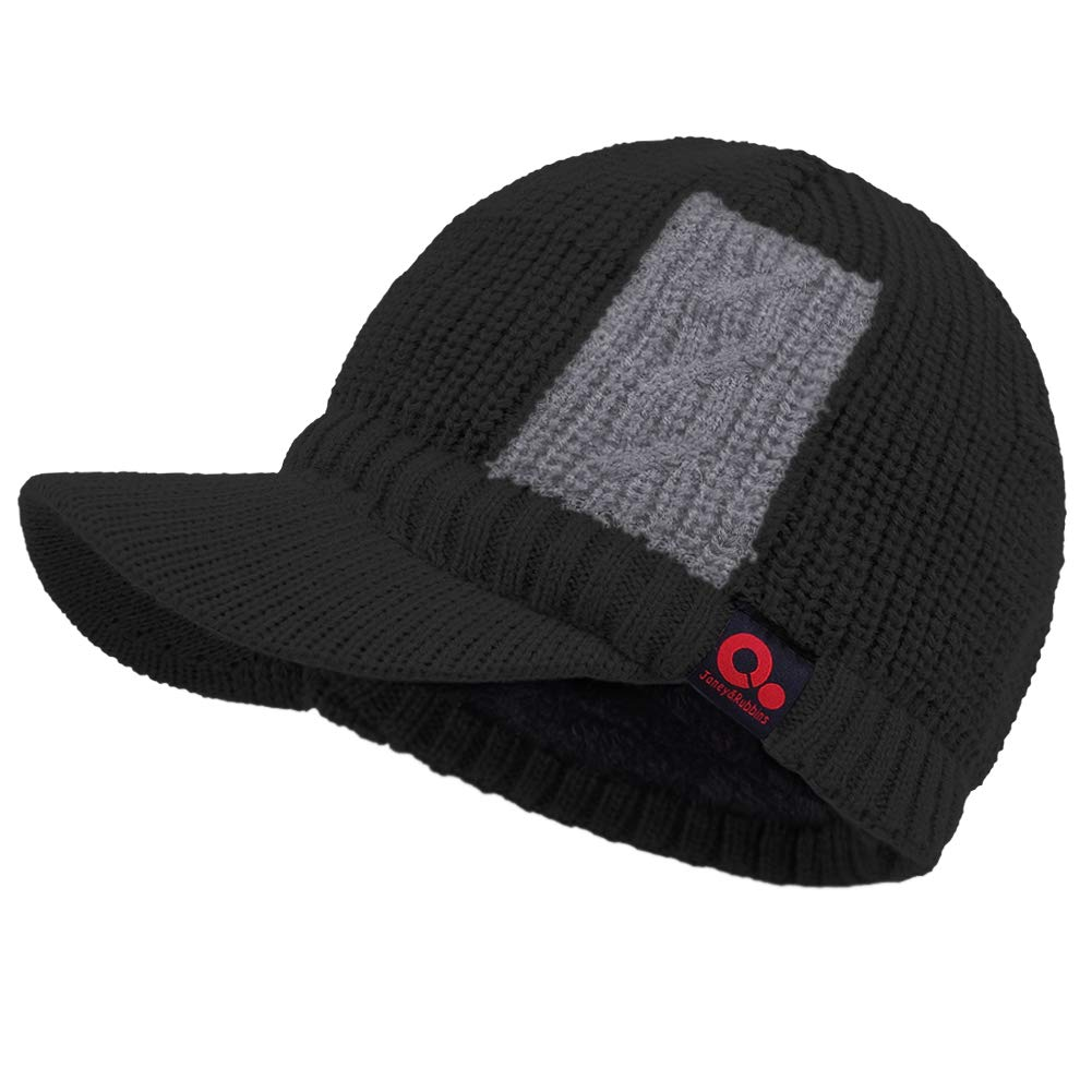 425d5f451e10bc Janey&Rubbins Sports Winter Two Tone Visor Beanie with Bill Knit Hat with Brim  Fleece Lined Ski Cap (Black) at Amazon Men's Clothing store: