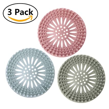 Alotm 3 Pack Silicone Drain Hair Catcher Stopper Shower Drain Covers Hair  Trap Catcher Sink Strainer
