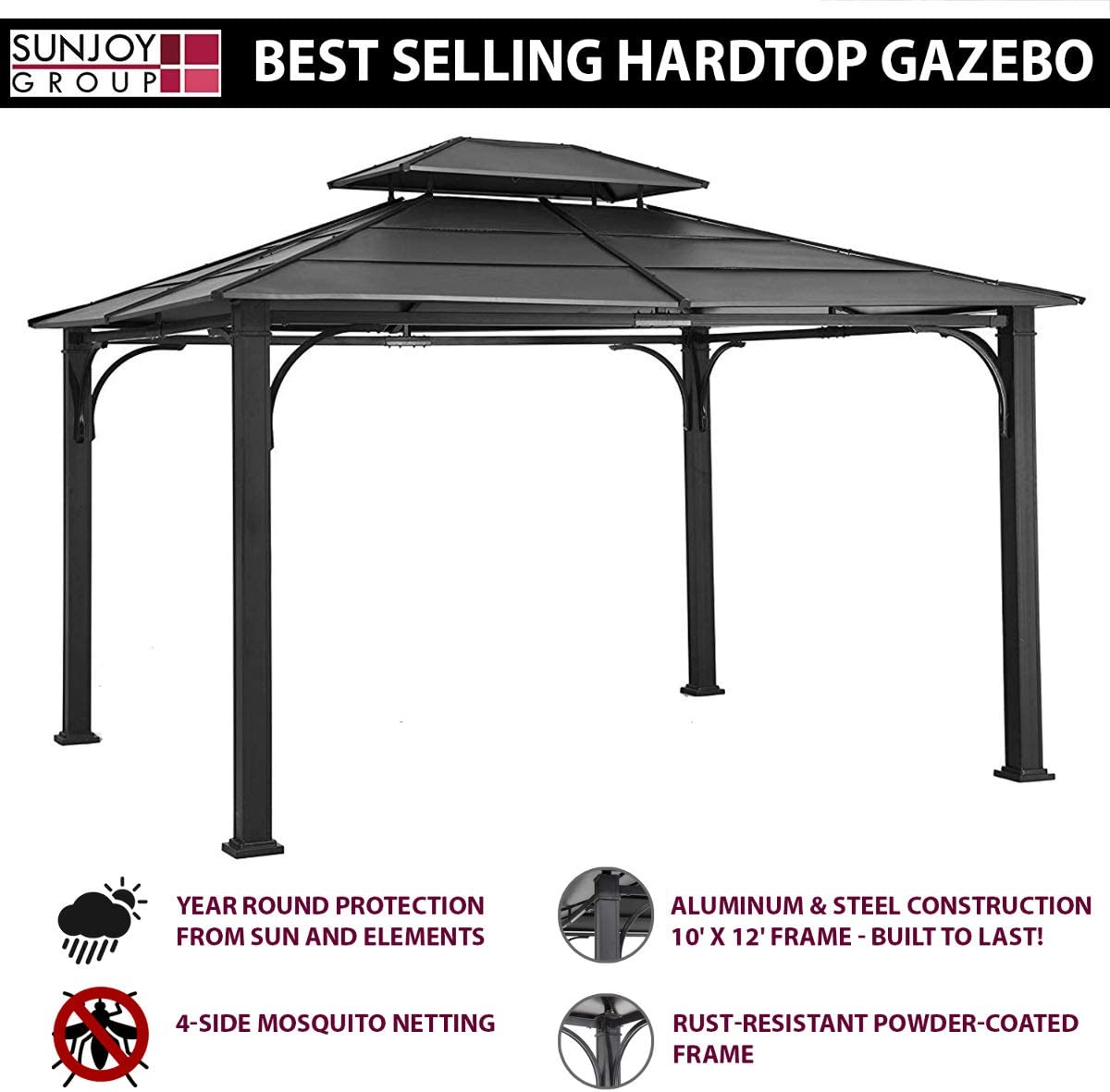Coolaroo Butterfly Gazebo, Backyard or Patio Gazebo, 99 UV Block, Steel Frame, 13 1 X 13 1 , Charcoal