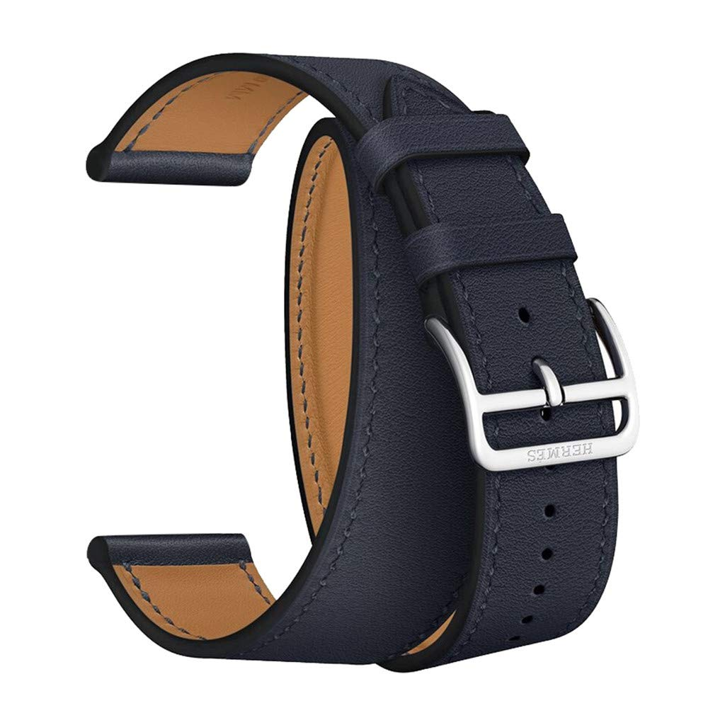 Leather double wrap band Replacement Strap For Apple Watch 1/2/3/4, HHoo 38/40mm Wristband Bracelet need wrap twice to wear it (Navy)