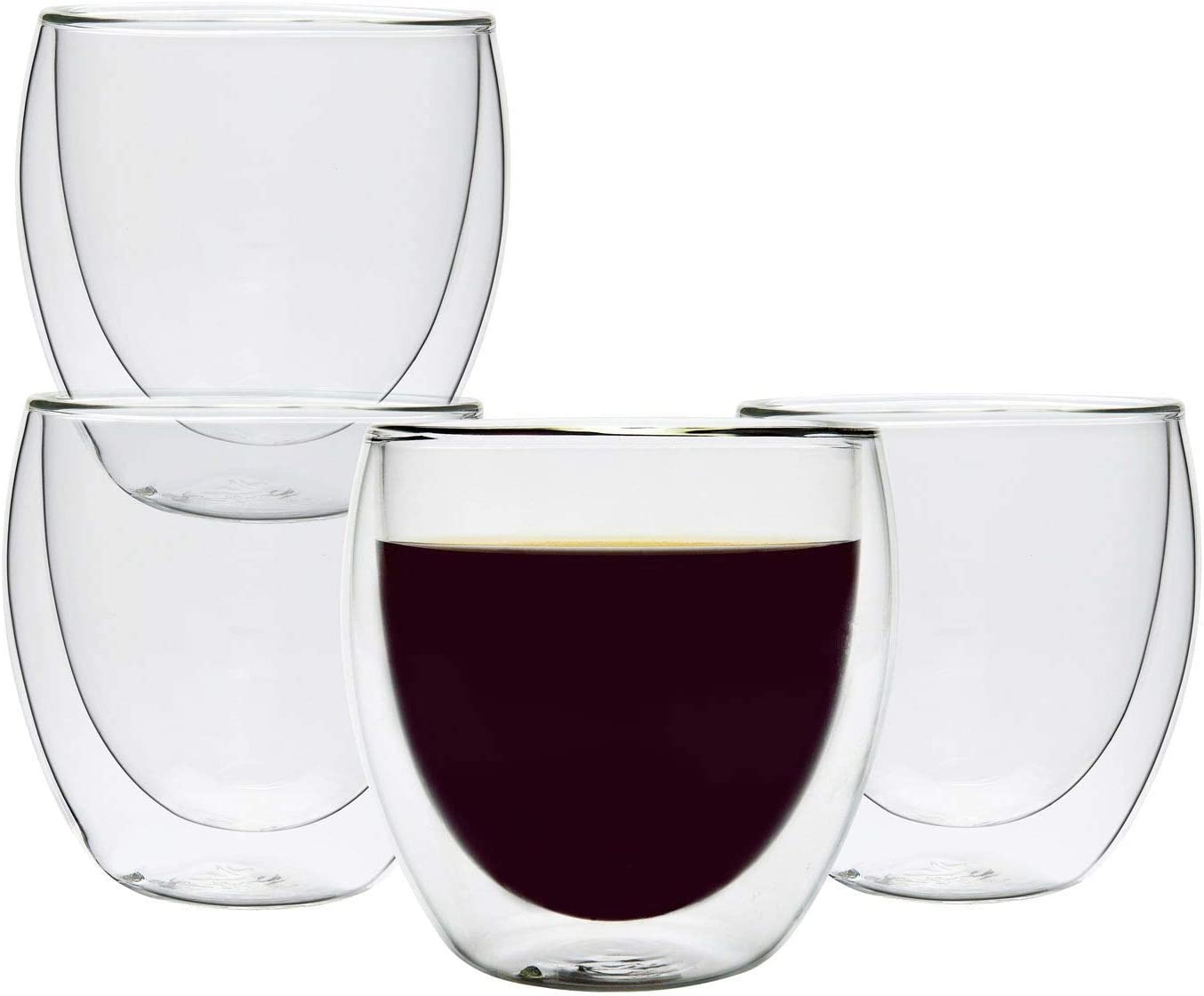 Double Wall Cups Glass 8.5 OZ - Set of 4, Insulated Thermal Mugs Glasses For Tea, Coffee, Latte, Cappucino, Cafe, Milk