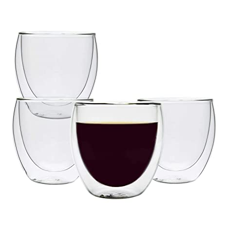 Kitchen, Dining, Bar Home & Garden 4pcs Wine Coffee Tea Glasses Double Walled 250ml Moderate Price