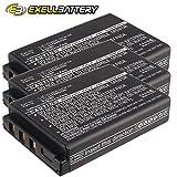 3x Exell Li-ion 3.7V Battery Fits WACOM Intuos4 Wireless, PTK-540WL-EN, Tablets Replaces 1UF102350P-WCM-03, 1UF102350P-WCM-04, ACK-40203-BX, CP-GWL04