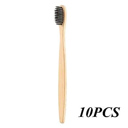 Cepillo de dientes de bambú natural, mango biodegradable, sin BPA, medio – cerdas