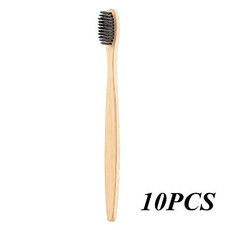 Cepillo de dientes de bambú, mango biodegradable sin BPA, medio – cerdas suaves,