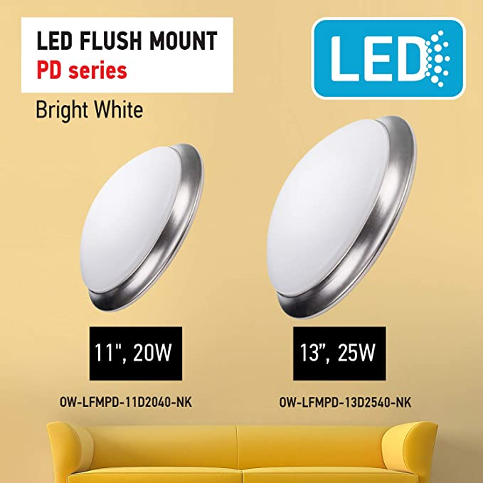 OSTWIN 11-inch LED Flush Mount Ceiling Light MS Series 16W 1500 Lumens 4000K ETL and Energy Star Listed 75 Watt Equivalent White Finish with Acrylic White Shade Bright White Dimmable