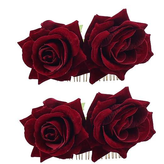 3a5e1075059 Ever Fairy Rose Flower Hair Clip Comb Slide Flamenco Dancer Pin Flower  Brooch Lady Hair Styling