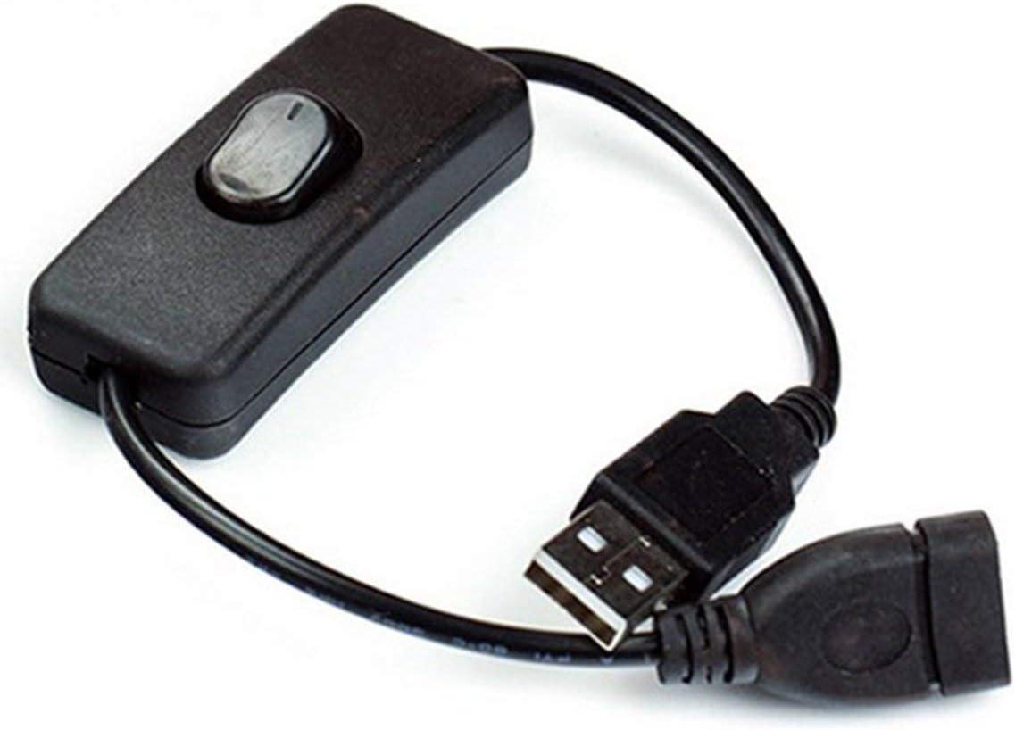 Cable USB macho a hembra con interruptor de encendido/apagado Cable de extensión Alternar para lámpara USB Ventilador USB Tira de luz LED Línea de alimentación Corriente 2A