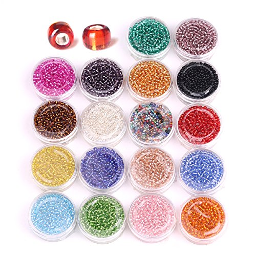 ZHUBI Glass Seed Beads About 14400pcs 18 Colors Silver Lined Plastic Pony Beads 2mm Spacer Beads Clear Multi Colored With Container Box (Silver Lined Rose)