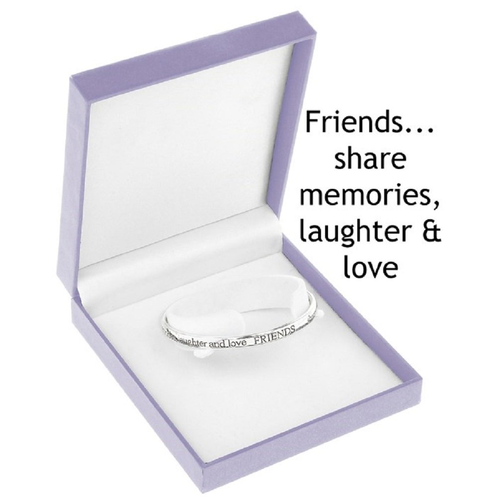'Friends Share Memories, Laughter and Love' - Silver Plated Bangle 'Friends Share Memories Equilibrium 3178