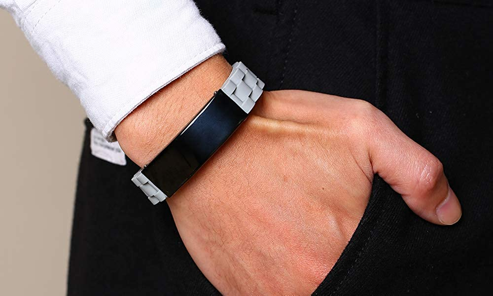 Personalized Custom Engrave Comfort Outdoor Sport Black Silicone ID Bracelets for Men,Adjustable