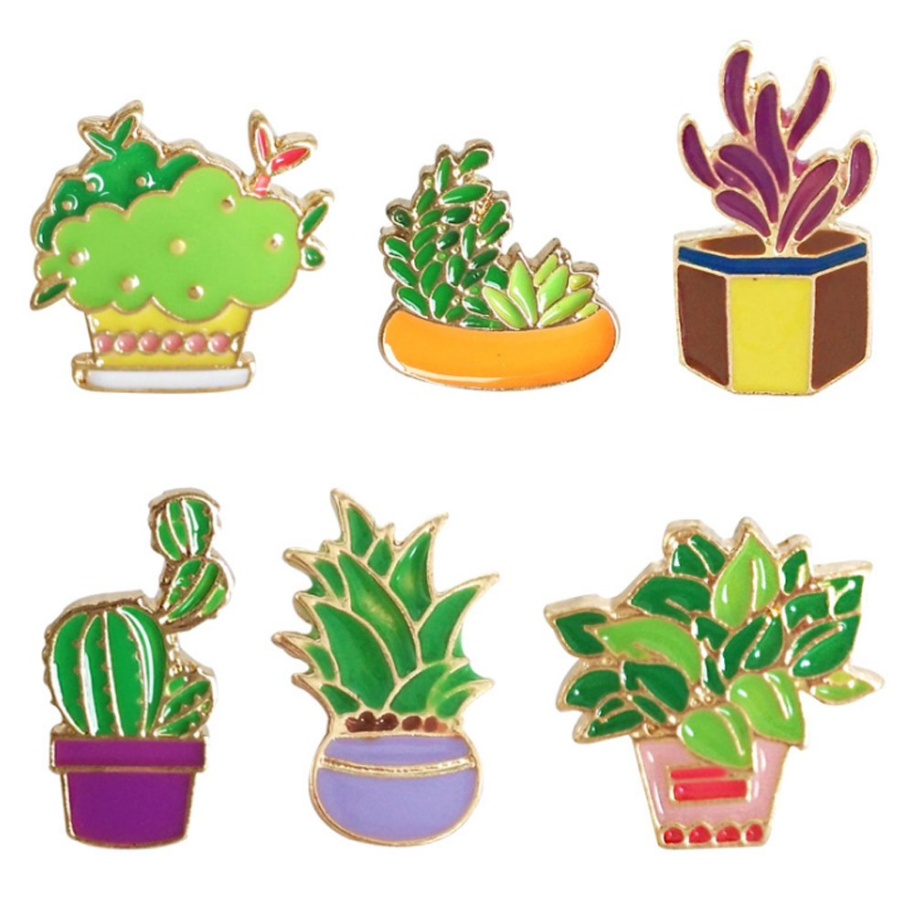 Cartoon Brooch Cute Cactus Plant Enamel Brooches Lapel Pins Badge for Women Girls Children for Clothing Backpack Decor (5)