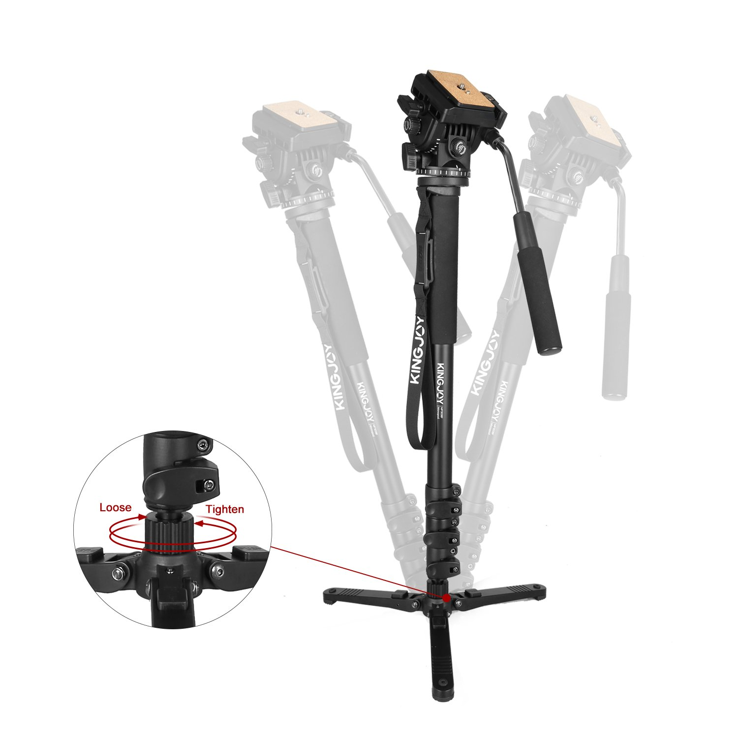 65-Inch Lightweight Aluminum Monopod Kit Flip Lock 4-Section Leg ,KINGJOY MP3008F Monopod and VT1510 Fluid Head with Removable Support Stand Max Load 8.8 LB for SLR and DSLR Cameras or Video