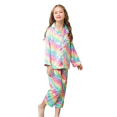 Amazon.com  Sylfairy Kids Girls Satin Pajamas Set ada13313b