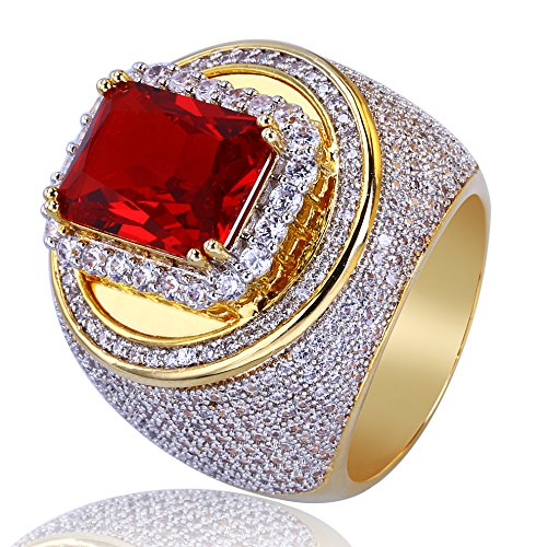 TOPGRILLZ 14K Gold Plated Iced out CZ Ruby Cushion Bling Punky Ring for Men (9) ()