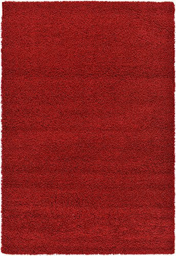 Unique Loom Solo Solid Shag Collection Modern Plush Cherry Red Area Rug (6' x 9') from Unique Loom