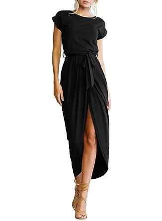 f6c1edc47d ACHICGIRL Women's Short Sleeve High Slit Solid Maxi Dress with Belt - Black  -