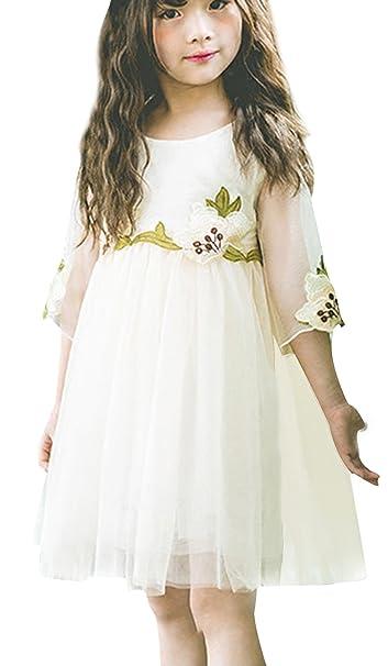 La Vogue Vestido de Princesa Niña Flor Hada Gasa para Fiesta Boda Blanco Talla 5 Busto