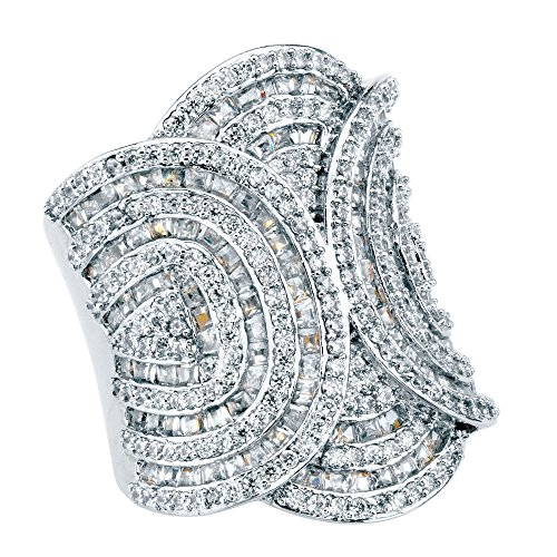 Palm Beach Jewelry Platinum-Plated Baguette and Round Cubic Zirconia Art Deco Style Ring (31mm) Size ()