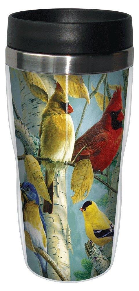 Stainless Steel Tree-Free Greetings 77140 Favorite Songbirds by James Hautman Vintage Art Sip N Go Travel tumbler Multicolored Tree Free SG77140 16-Ounce