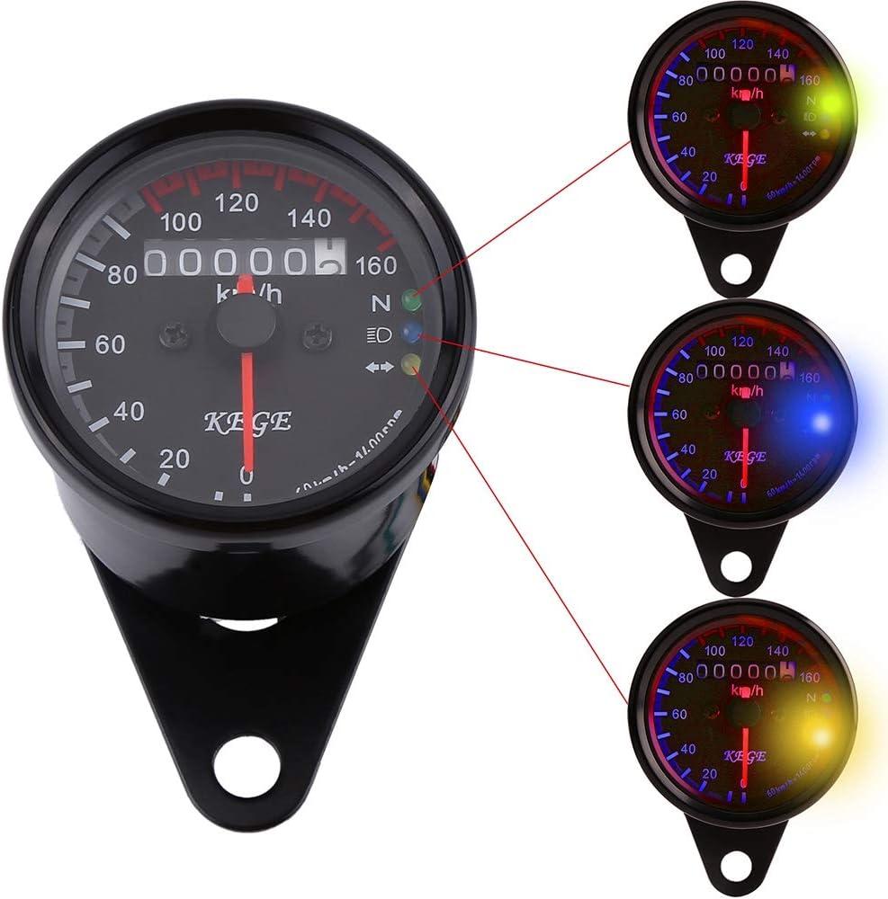 Silver shell white flour 1Pc Universal Digital Stainless LED Backlight Signal Light Motorcycle Odometer Speedometer Gauge K//MH Odometer