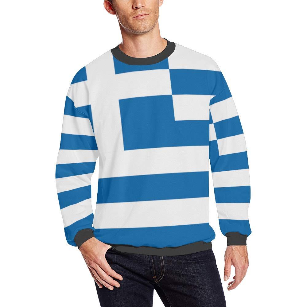 Greece Flag Mens Pullover Fuzzy Sweatshirt