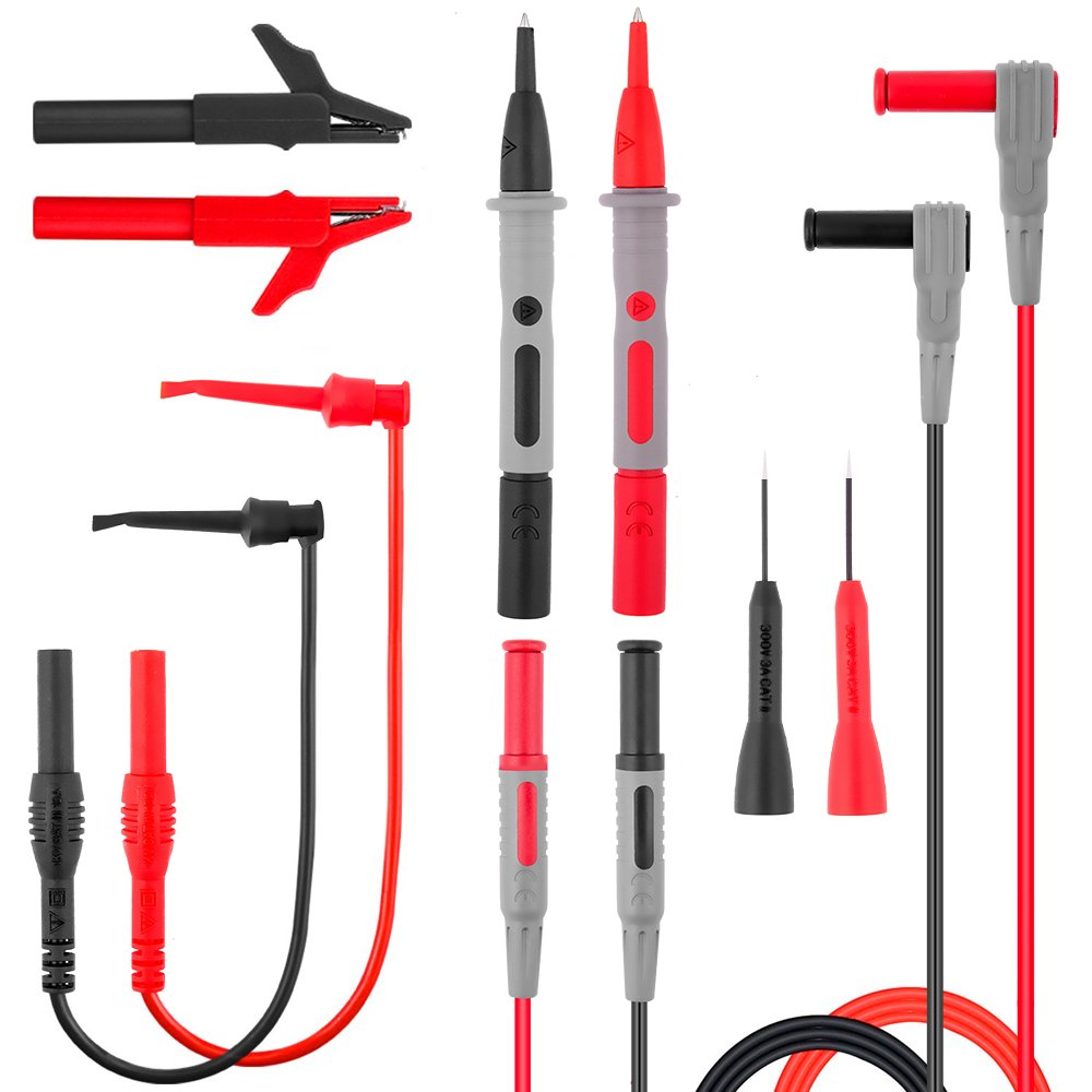 Electronic Test Leads Kit, Digital Multimeter Leads, Electronic Professional Diagnostic Set including Alligator Clips,Test Extension, Test Probe,Plunger Mini-hooks Free Organizer by MayBest