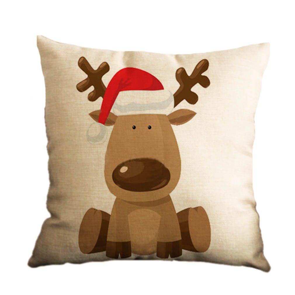 Nunubee Square Christmas Pillowcase Home Car Decor Sofa Cushion Cover Pattern 1 7005P0748