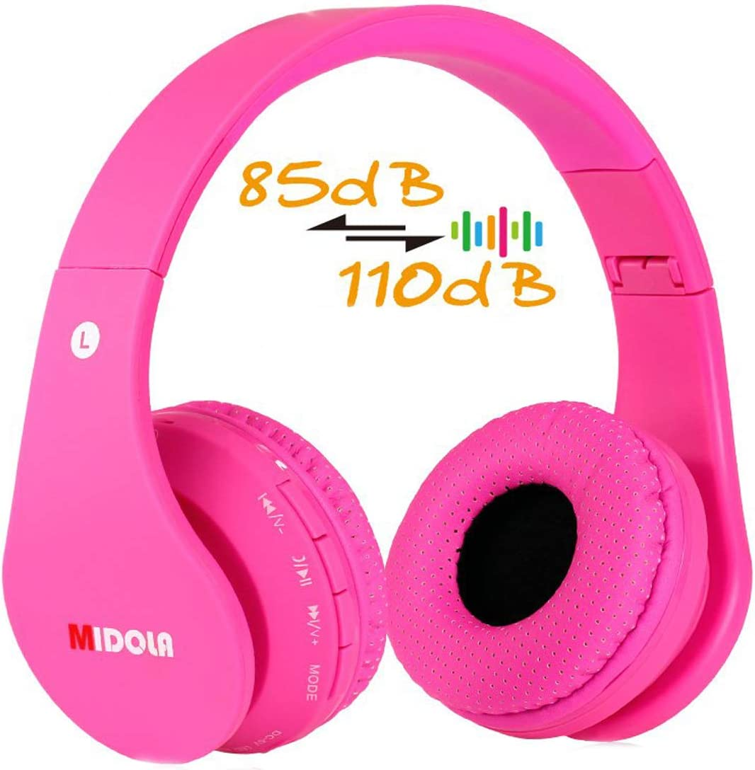Volume Limited 85dB Kids Headphone Bluetooth Wireless Over Ear Foldable Stereo Sound Noise Protection Headset with AUX 3.5mm Cord Mic for Boys Girls Cellphone Ipad Tablets TV Notebook Light Pink Rose