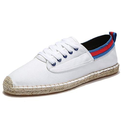 Alpargatas Lona Blanco Linen Espadrilles para Hombre Zapatos con Cordones: Amazon.es: Zapatos y complementos