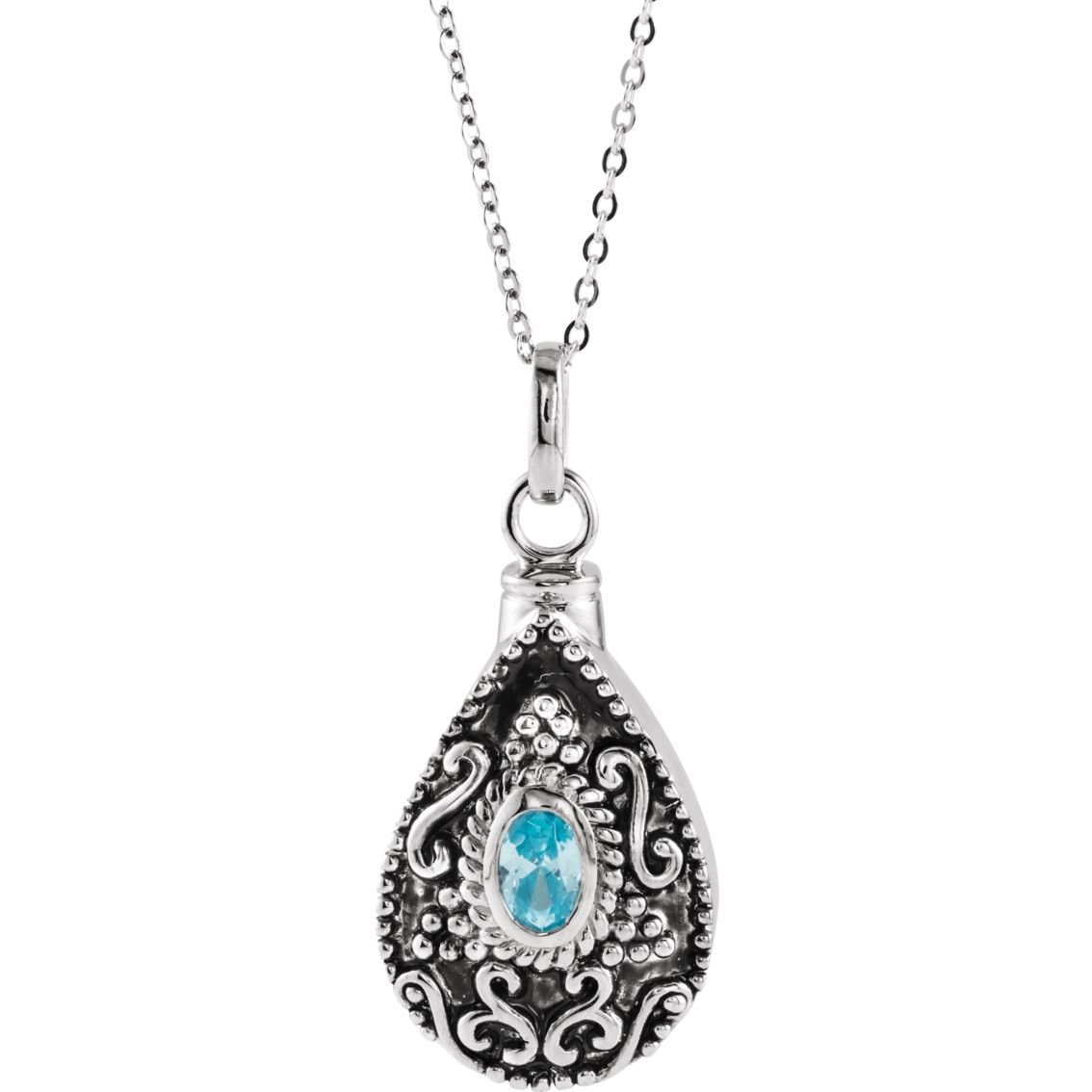 Sterling Silver March Birthstone Accented Tear Ash Holder 18'' Necklace - Inspirational Blessings