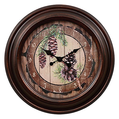 (BLACK FOREST DECOR Pinecone Wall Clock - Large)