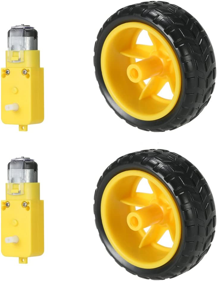 KKmoon 2 Sets Motor DC Gear + Rueda para Neumáticos para Arduino DC 3V-6V Smart Car DIY Project 2pcs DC Motor eléctrico con 2 Piezas de plástico de Juguete Rueda de neumático (Tipo1)