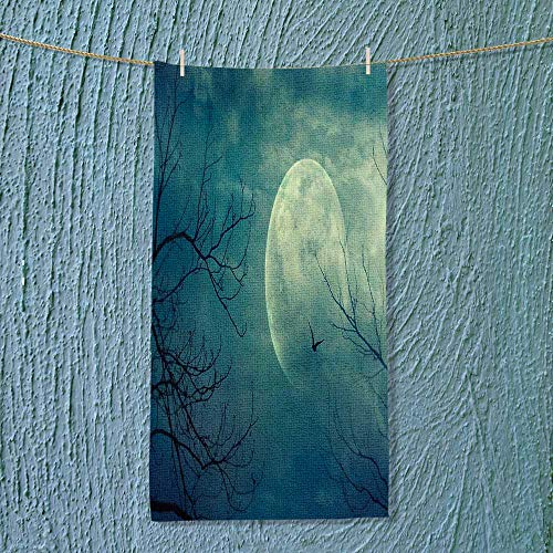 SOCOMIMI Camping Towel Decor Halloween with Full Moon in Sky and Dead Tree Branches Evil Haunted Use for Sports, Travel, Fitness, Yoga ()