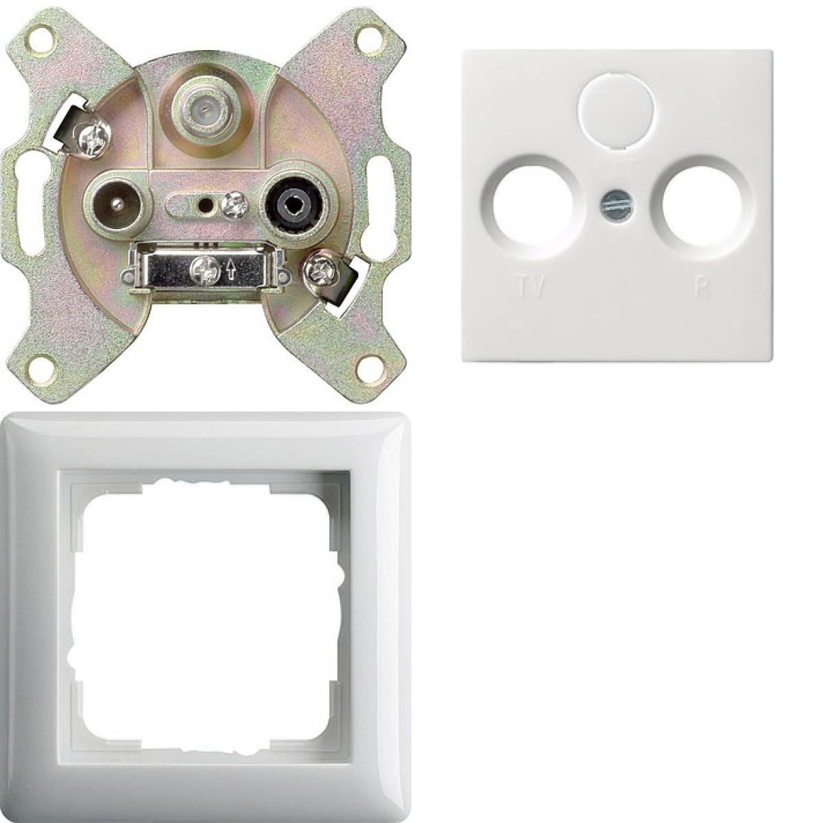 Hervorragend Komplett-Set Gira Standard 55 Rahmen, 1-fach - Reinweiß, glänzend  GW75