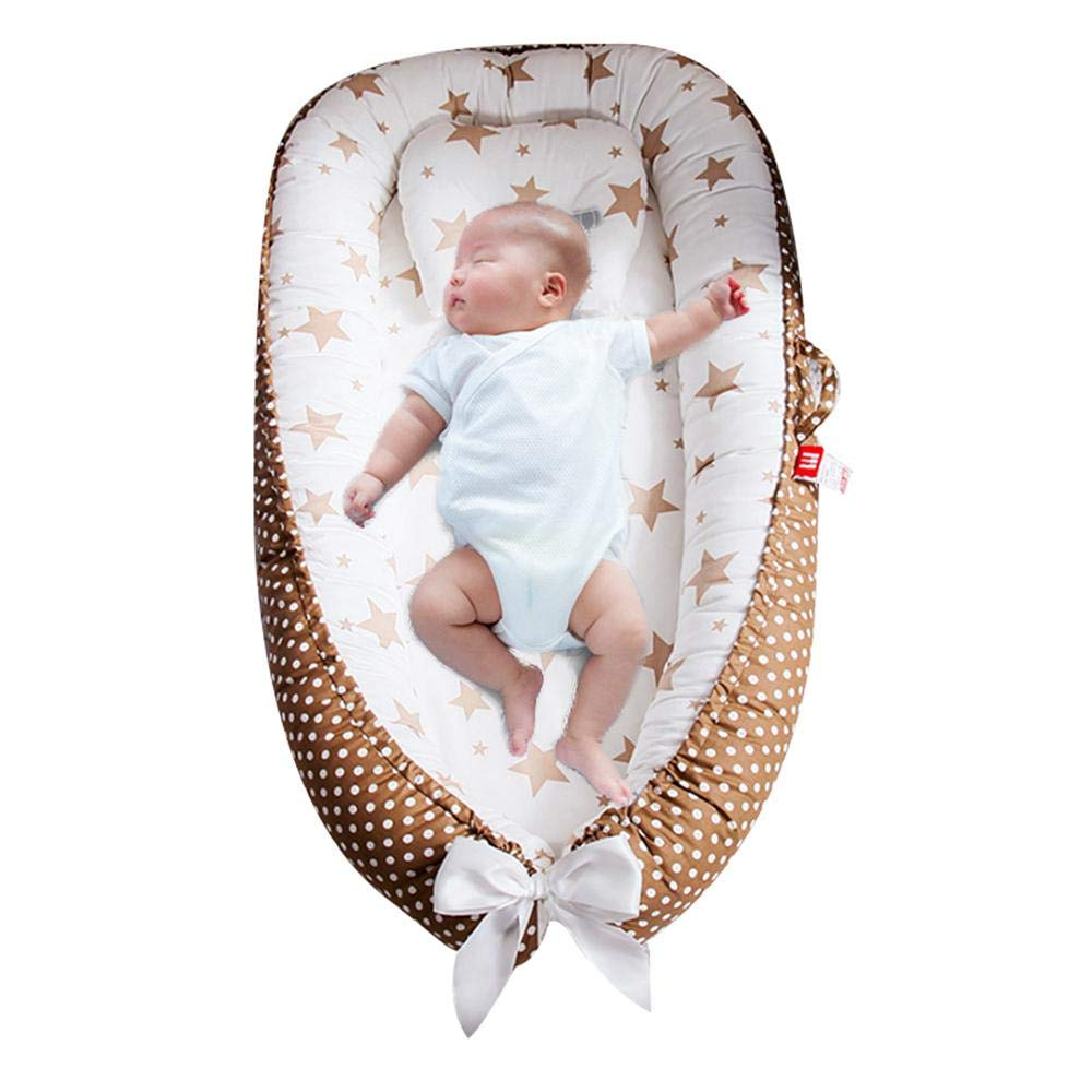 Cuna Port/átil Y Mois/és Dormir En Cama Coj/ín para Tumbona Reci/én Nacido S/úper Suave Y Transpirable Adecuado De A 12 Meses-Desmontable Y Lavable A M/áquina FOONEE Baby Lounger Nest