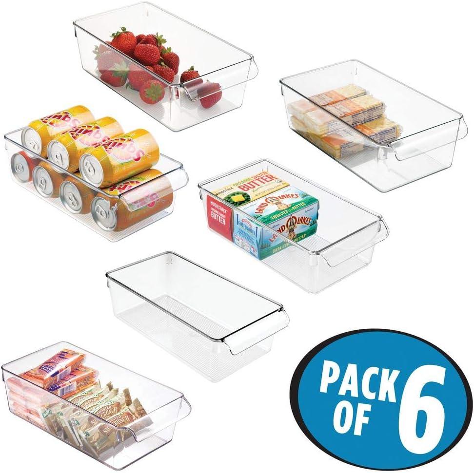 mDesign Juego de 6 cajas de almacenaje para nevera o congelador ...