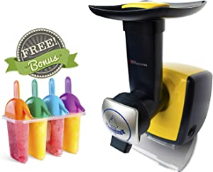 Uber Appliance Sorbet and Frozen yogurt maker machine Automatic frozen soft serve fruit dessert healthy homemade sherbet machine - 4 pc Popsicle molds and recipe book included (Yellow)