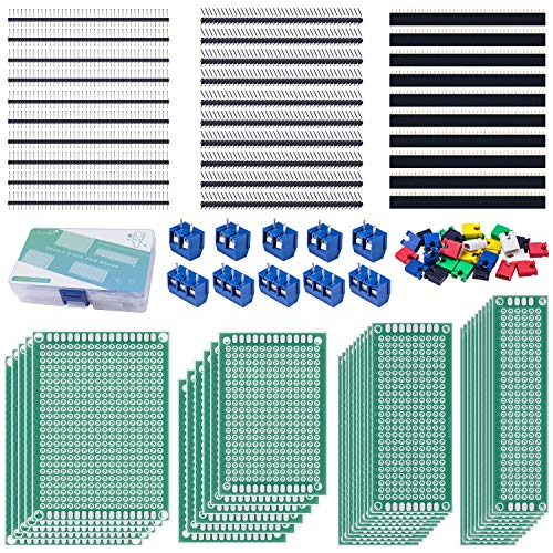 (Miuzei 100Pcs PCB Board Kit Including 30 Pcs Double Sided PCB Prototype Boards, 30 Pcs Header Connector(40 Pin 2.54mm Male and Female), 30 Pcs Jumper Caps, 10 Pcs 2P&3P Screw Terminal Blocks with Box)