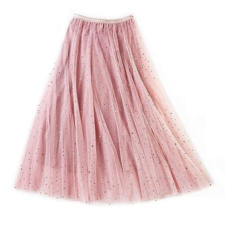 Falda casual de verano para mujer Falda de malla con capas en ...